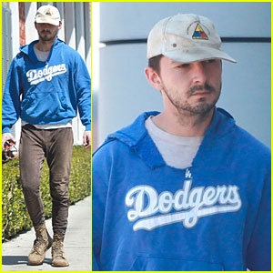 Shia LaBeouf Roots For L.A. Dodgers Before Their Giants Game!