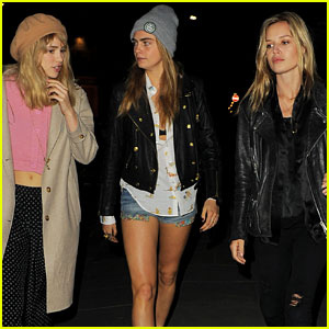 Suki Waterhouse & Cara Delevingne Have Giggly Girls' Night Out with Georgia May Jagger!