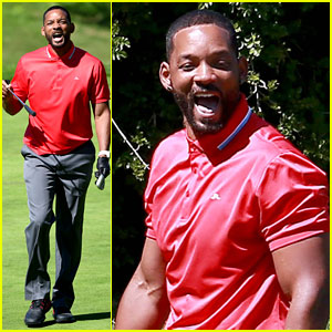 Will Smith Makes Funny Faces During Calabasas Golf Session