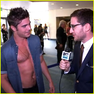 Zac Efron Gets Interviewed While Still Almost Shirtless at MTV Movie Awards 2014