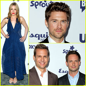 Aaron Tveit & Piper Perabo Promote USA Shows at NBCUniversal Upfronts!