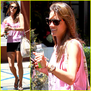 Alessandra Ambrosio Displays Her Long Legs in Spandex Shorts