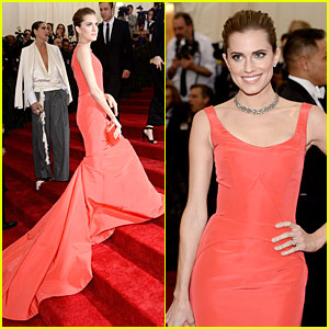 Allison Williams is Smashing in Red at Met Ball 2014