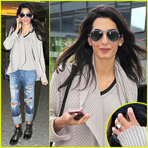 George Clooney's Fiancee Amal Alamuddin Looks So Happy Flashing Engagement Ring!