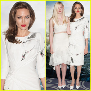 Angelina Jolie & Elle Fanning are Lovely in White at 'Maleficent' London Photo Call!