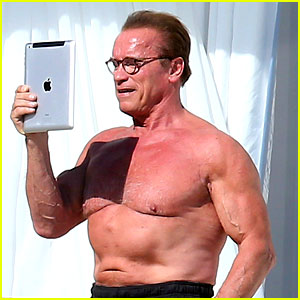 Arnold Schwarzenegger Shows Off Buff Shirtless Body in Cannes