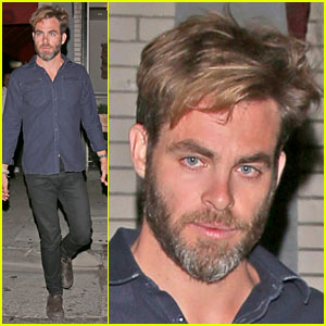 Chris Pine Sports Greying Beard While Out with Mystery Gal