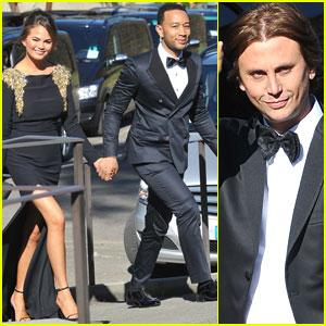 John Legend & Chrissy Teigen Make Their Elegant Arrival to Kim Kardashian & Kanye West's Wedding!