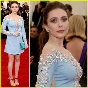 Elizabeth Olsen Sparkles in Short Dress at Met Ball 2014!
