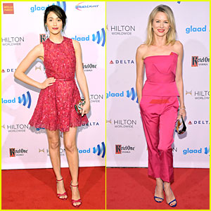 Emmy Rossum & Naomi Watts Stand Out with Fuschia at GLAAD Media Awards!