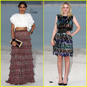 Frieda Pinto & Dakota Fanning Keep It Flashy at Chanel Photo Call!
