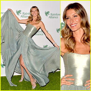 Gisele Bundchen Playfully Poses with Her Dress at Rainforest Gala