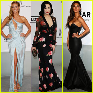 Heidi Klum Displays Bare Leg with High Slit Dress at Cannes amfAR Gala 2014