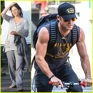 Jennifer Aniston Continues 'Cake' Filming, Justin Theroux Wears the Perfect Shirt to Display His Muscles!