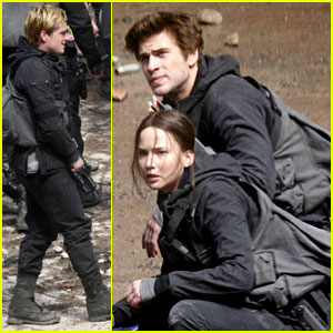 Jennifer Lawrence, Josh Hutcherson, & Liam Hemsworth Fight Back for 'Mockingjay Part 2' Scenes