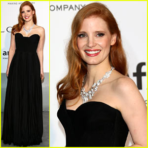 Jessica Chastain Goes Classic in Black for Cannes amfAR Gala 2014