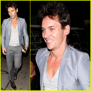 Jonathan Rhys Meyers Wears a Deep V-Neck T-Shirt to Dinner with Friends