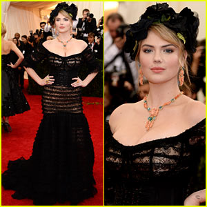 Kate Upton Wears Black Floral Headdress, Shows Lots of Cleavage at Met Ball 2014