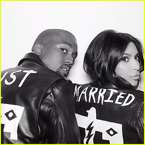 Kim Kardashian & Kanye West Wear Matching 'Just Married' Jackets After Wedding!