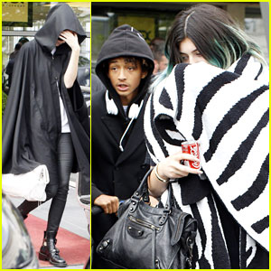 Kylie Jenner & Jaden Smith Arrive in Paris After Reported Makeout Session at Kim & Kanye's Wedding!