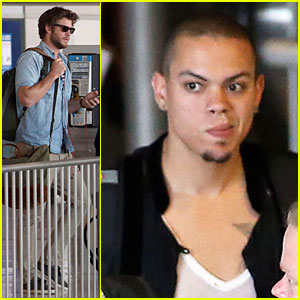 Liam Hemsworth & Evan Ross Have a 'Hunger Games' Moment During Parisian Lunch!