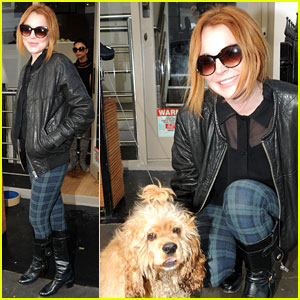 Lindsay Lohan Poses with the Most Adorable Dog in London!