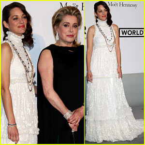 Marion Cotillard Accompanies French Actress Catherine Deneuve at the amfAR Gala 2014