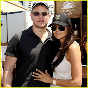 Matt Damon & Wife Luciana Mingle with Horsemen Flight Team!