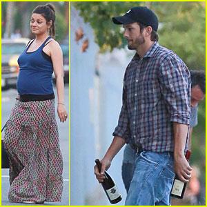 Pregnant Mila Kunis & Ashton Kutcher Feel Blue at Wine Tasting Party!