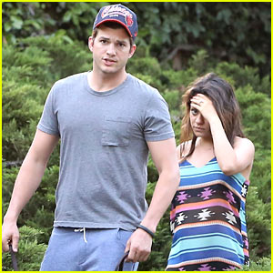 Mila Kunis Covers Her Baby Bump in Loose Dress for Walk with Ashton Kutcher