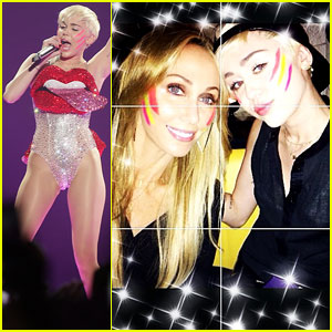 Miley Cyrus Dons Face Paint for Mom Tish's Birthday Celebration!