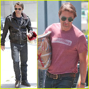 Olivier Martinez Carries His Motorcycle Helmet Like a Purse!