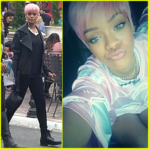 Rihanna Calls Herself Ghetto in Pink Football Jersey!