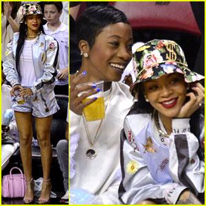 Rihanna Cheers on LeBron James at Nets vs. Heat Game