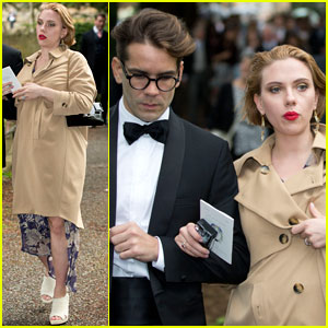 Scarlett Johansson Shows Off Baby Bump at English Wedding with Fiance Romain Dauriac