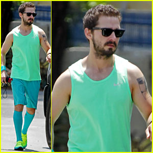 Shia LaBeouf Wears a Crazy Head-to-Toe Green & Blue Outfit