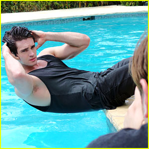 Steven R. McQueen is Soaking Wet & Smoking Hot for His JJ Spotlight Shoot! (Behind the Scenes Photos)