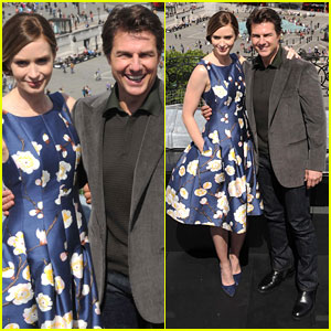 Tom Cruise & Emily Blunt Buddy Up for 'Edge of Tomorrow' London Photo Call