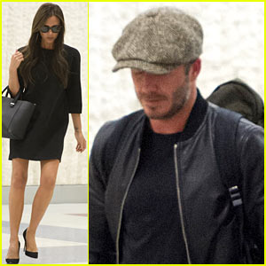 Victoria & David Beckham Land in NYC Ahead of Met Gala 2014