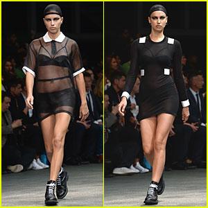 Adriana Lima & Irina Shayk Rock Sheer Outfits at Givenchy Fashion Show!