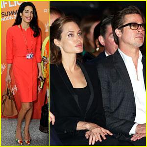 Amal Alamuddin Joins Brad Pitt & Angelina Jolie at Anti-Rape Summit