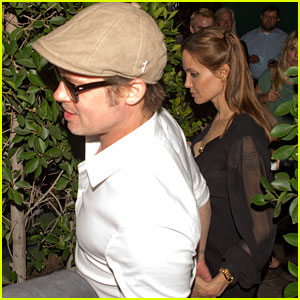 Angelina Jolie & Brad Pitt Hold Hands After Dining at Ago