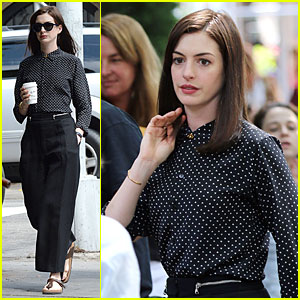 Anne Hathaway Dons Long Hair Wig on 'The Intern'!