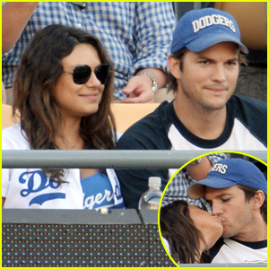Ashton Kutcher & Mila Kunis Pack on the PDA at Dodgers Game!