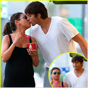 Ashton Kutcher Plants a Kiss on Pregnant Mila Kunis After Lunch!