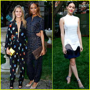 Cara Delevingne & Emmy Rossum Enjoy Afternoon Tea at Stella McCartney Spring 2015 Presentation