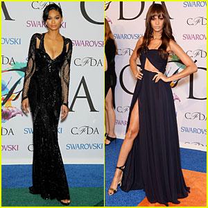 Chanel Iman & Joan Smalls Show Serious Skin at CFDA Awards 2014