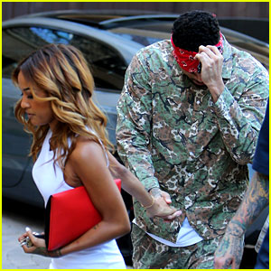 Chris Brown Gets Blindfolded by Karreuche Tran & Led to a Surprise Party