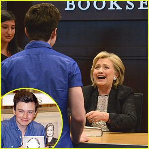 Hillary Clinton Surprised by Chris Colfer at Book Signing