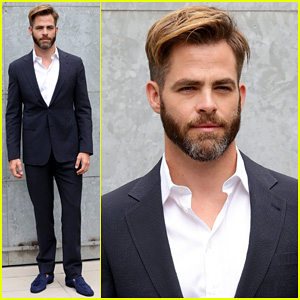 Chris Pine Jets to Milan for Giorgio Armani Fashion Show!